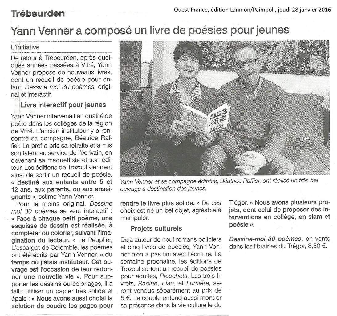 article Ouest France janvier 2016