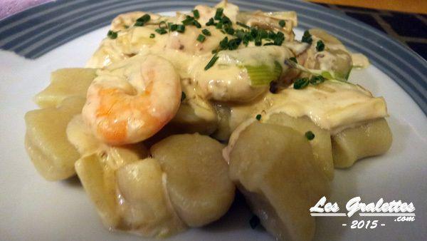 Recette : gnocchi aux crevettes et fondue de poireaux