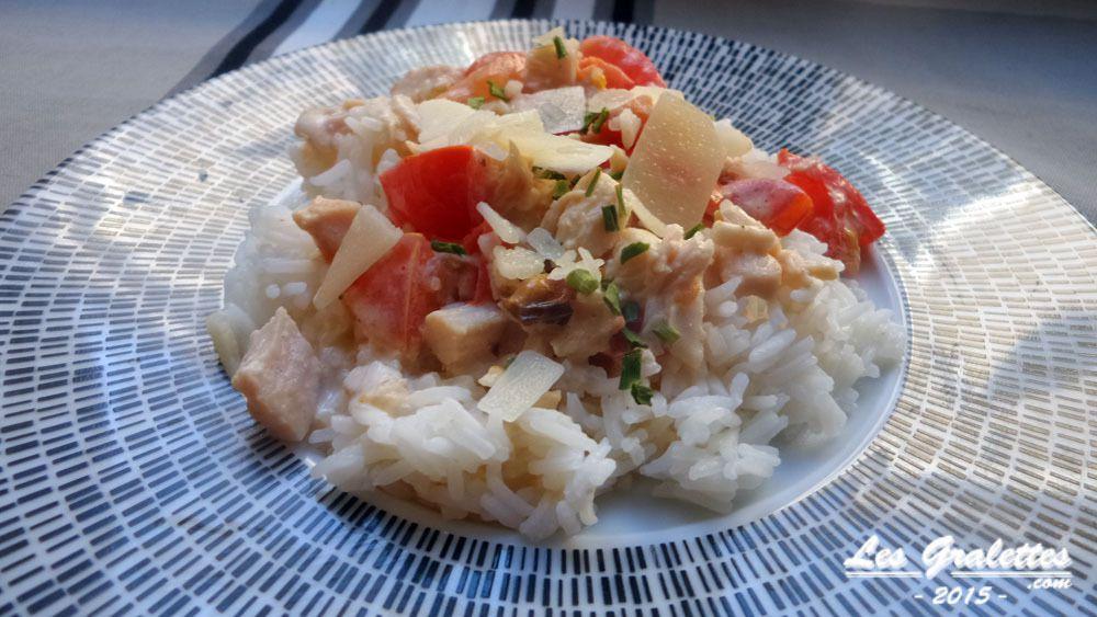Recette : riz à la crème tomatée et poulet express