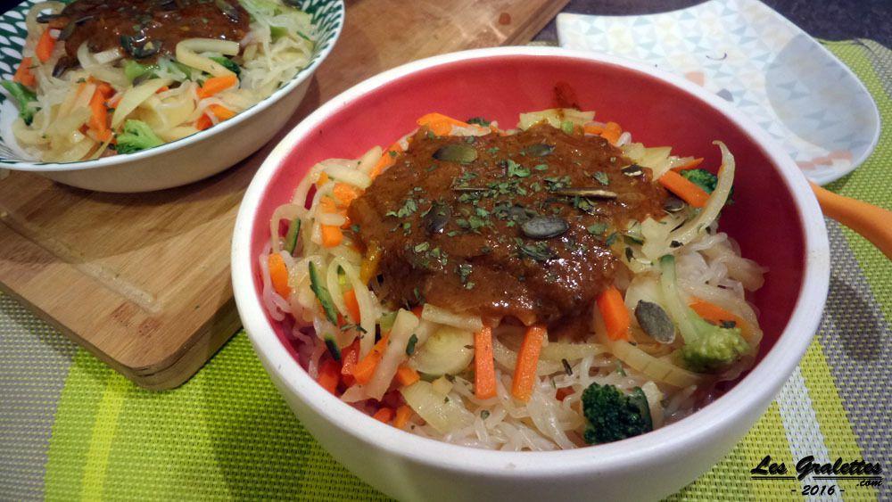 recette : Pâtes vegan curry et graines de courge