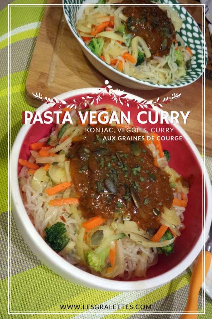 pasta vegan curry au konjac et graines de courge