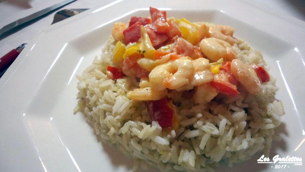 riz aux crevettes sauce curry et lait de coco
