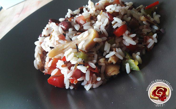 Salade riz avec un tartare de tomates