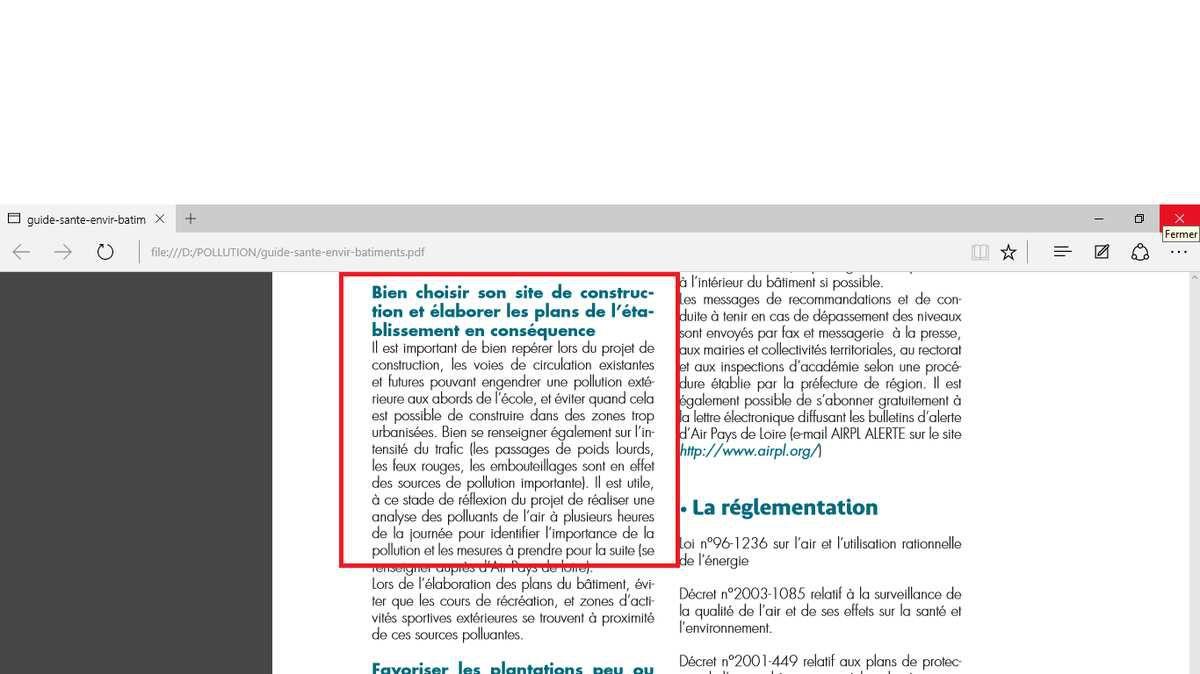 Santé - environnement. Bâtiments accueillant des enfants. Guide à l'usage des responsables d'établissements. PRÉFECTURE DE LA REGION. PAYS DE LA LOIRE. Septembre 2007.