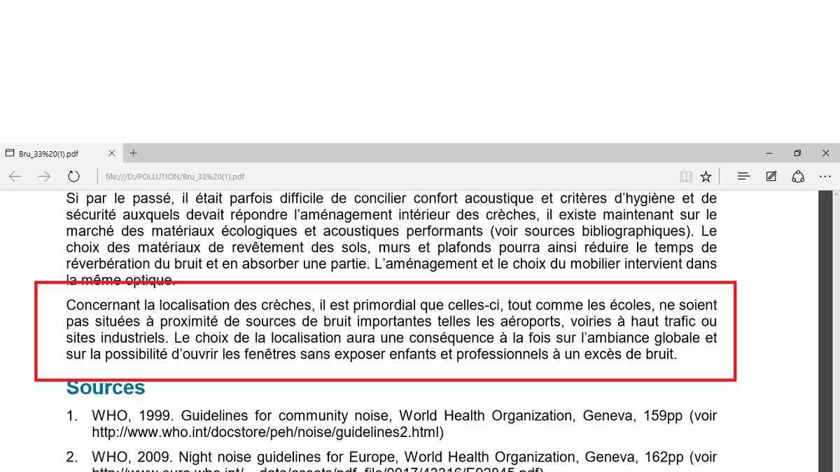 """Les données de l'IBGE : """"Le bruit à Bruxelles - Données de base pour le plan""""  Exposition au bruit dans les crèches en Région de Bruxelles-Capitale"""" BRUXELLES ENVIRONNEMENT  -  DÉPARTEMENT BRUIT ET OBSERVATOIRE DES DONNÉES DE L'ENVIRONNEMENT, Octobre 2011"""