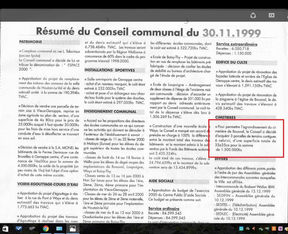 Conseil communal du 30 novembre 1999, Journal de GENAPPE, janvier 2000