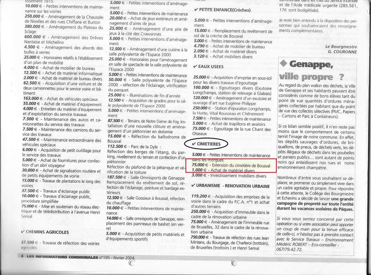 Budget communal pour l'année 2004, voté le 23/12/2003, Journal de GENAPPE, Février 2004