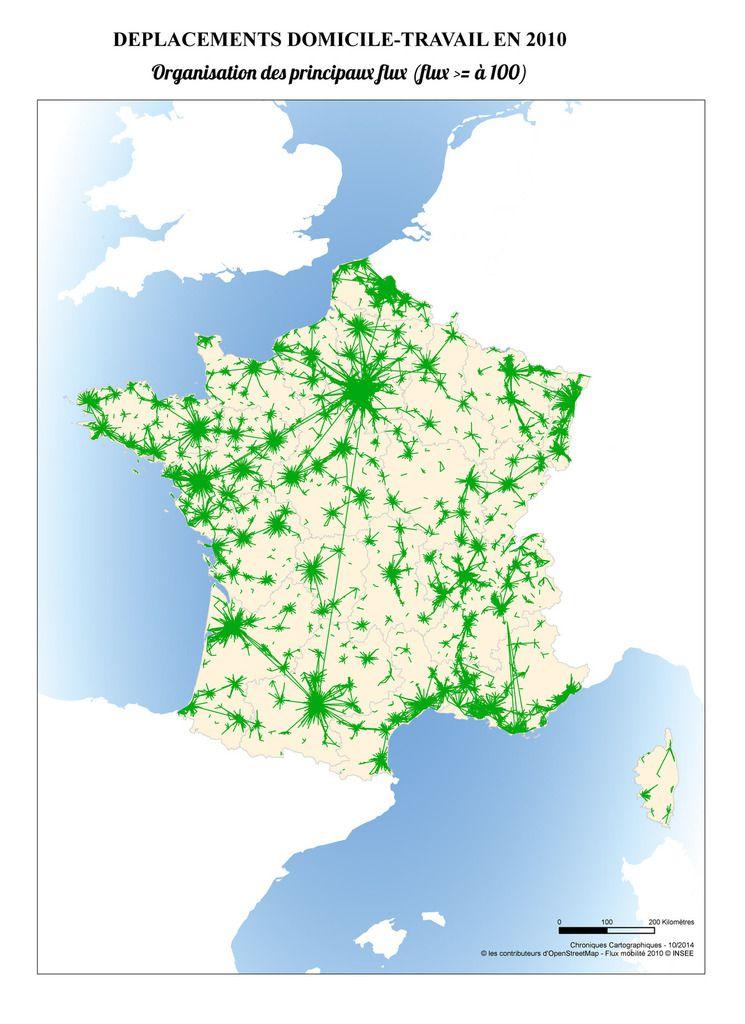 Carte de France des flux de mobilité domicile-travail