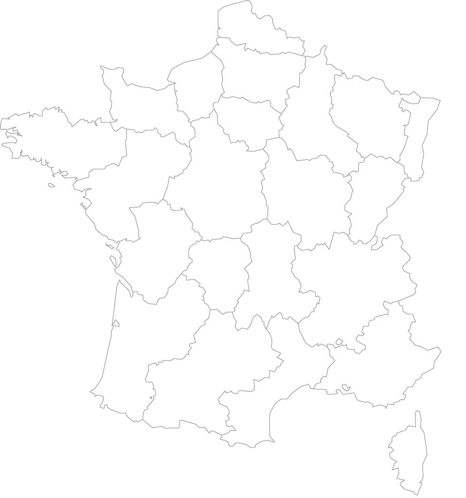 carte de france régions vierge à imprimer