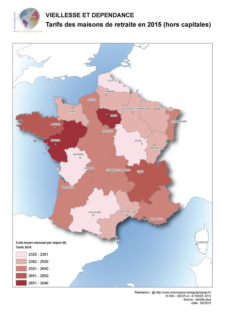 Carte de france des tarifs en maison de retraite for Maison atypique ile de france
