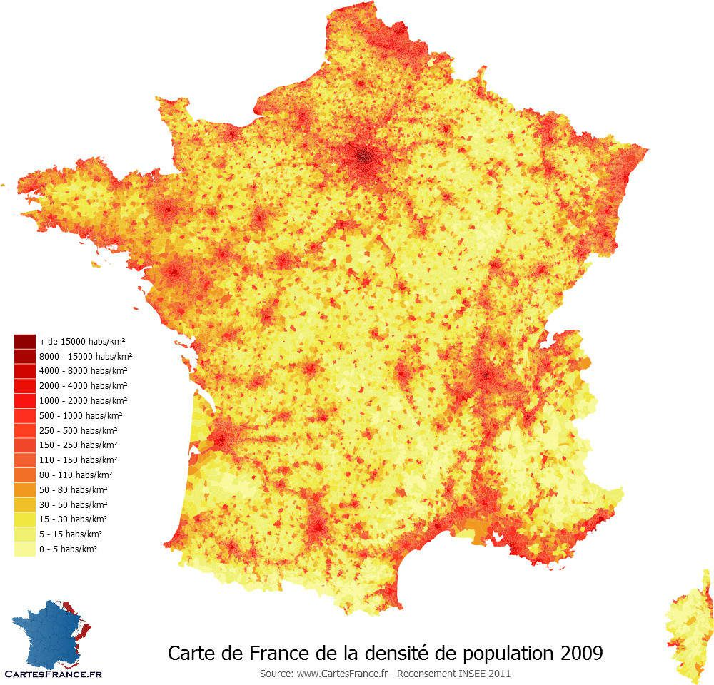 carte de france de la densité en 2009