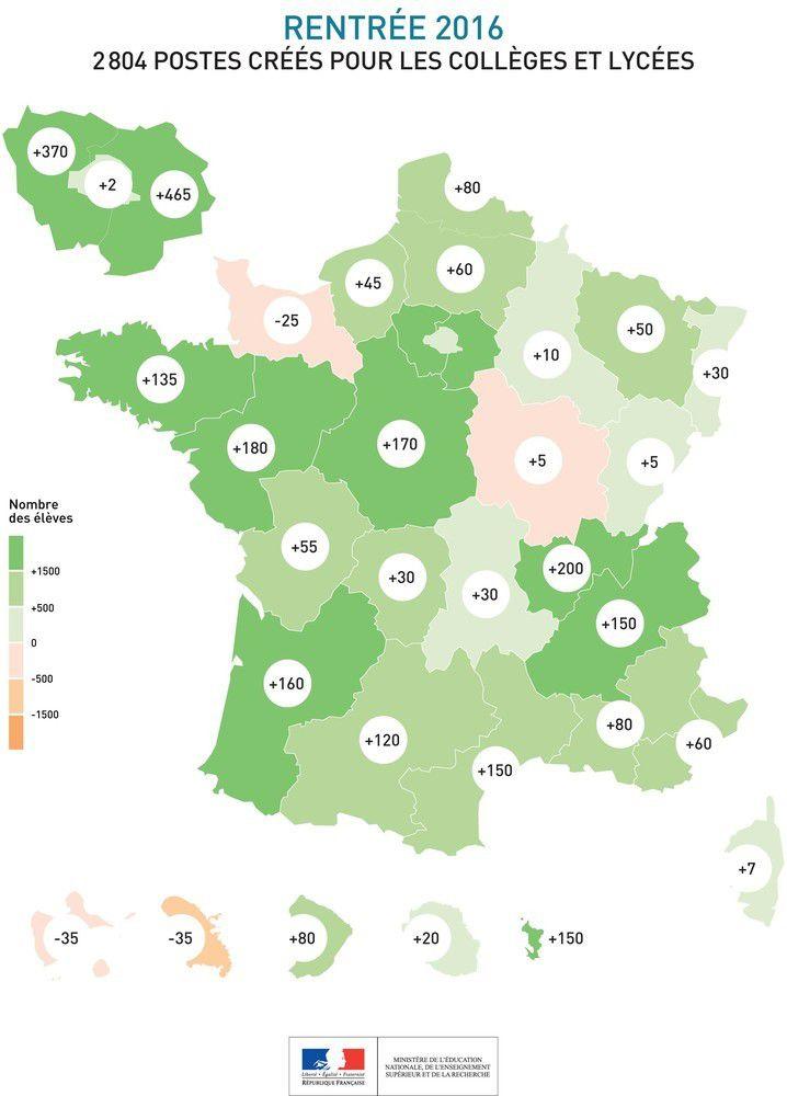 carte de France postes 2nd degré par académie