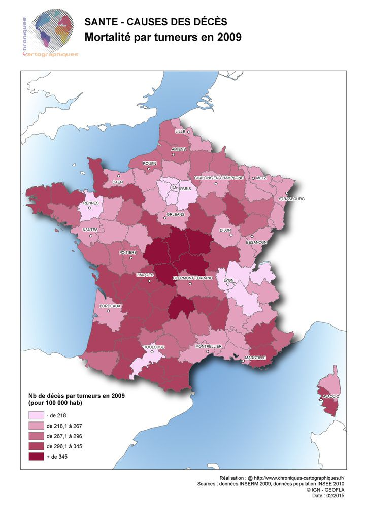 Carte de France mortalité par tumeurs