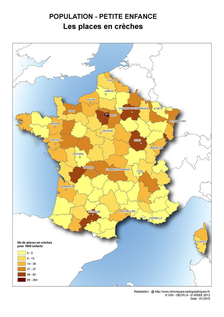 Carte de France du nombre de places en crèches par départements