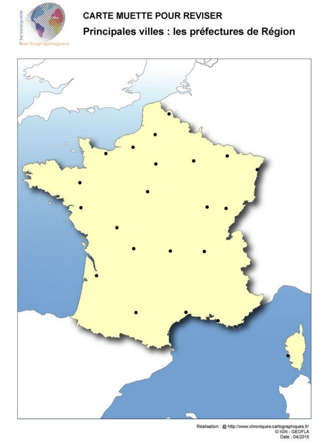 Carte vierge des villes de France