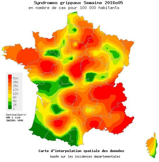 Carte de France propagation de la grippe sem 05 2016