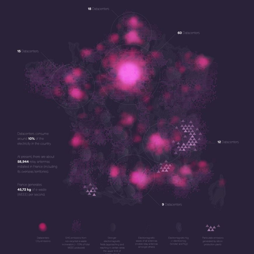 Carte de France de la pollution numérique