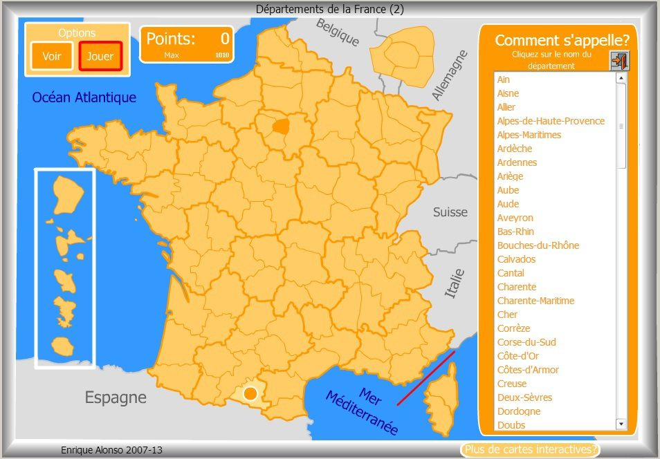 carte de france quizz