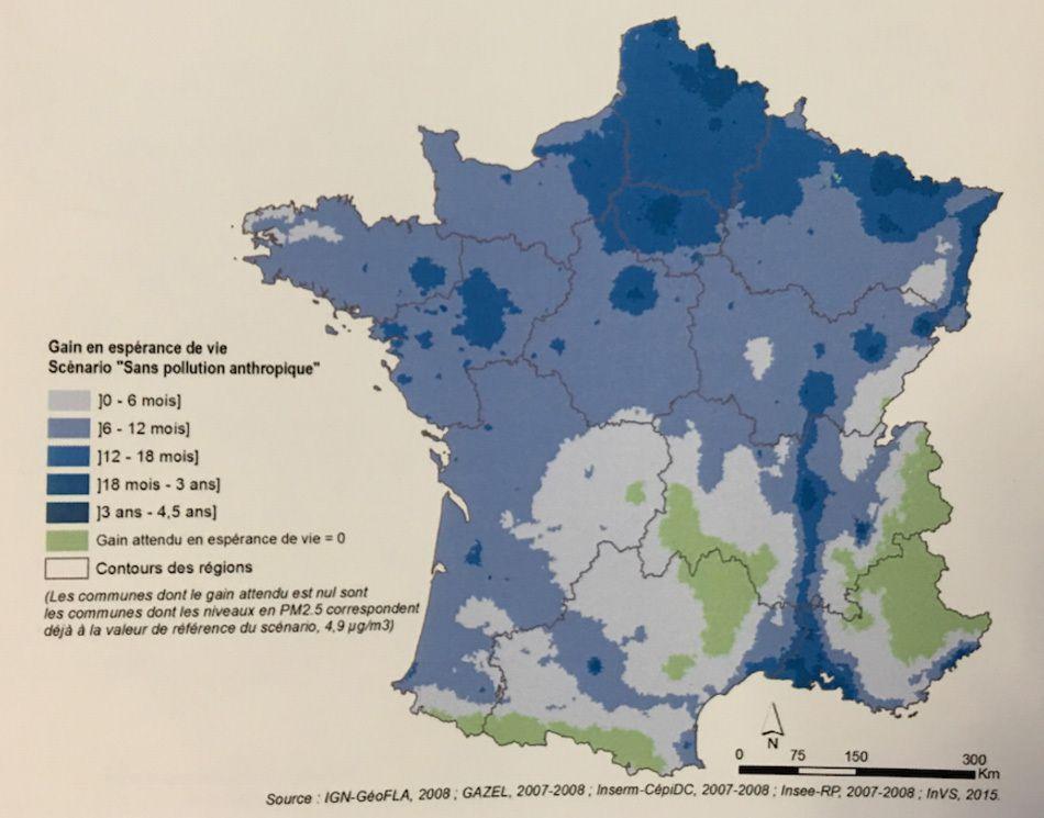 Gain en espérance de vie sans particules fines - © Santé publique France