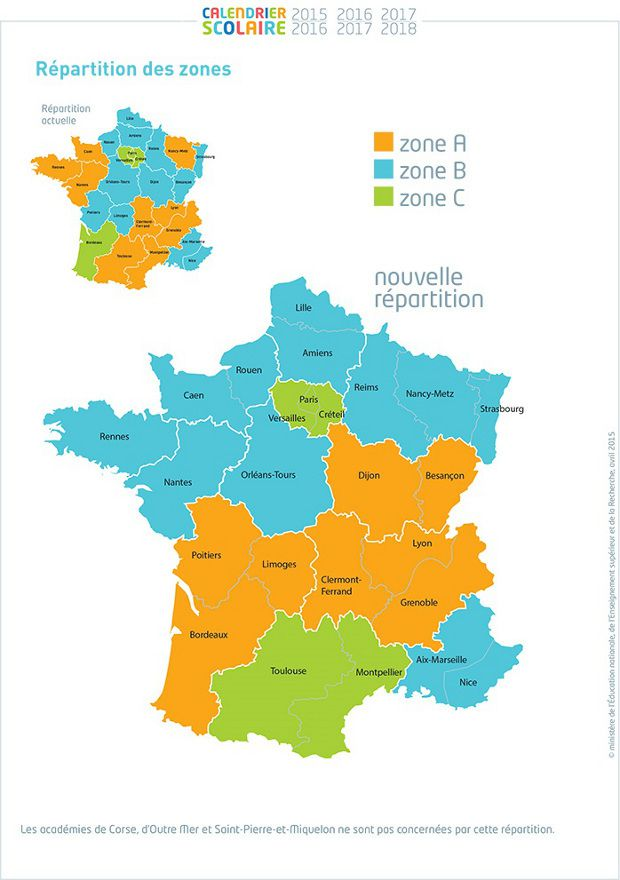 carte de france des zones et dates de vacances scolaires. Black Bedroom Furniture Sets. Home Design Ideas