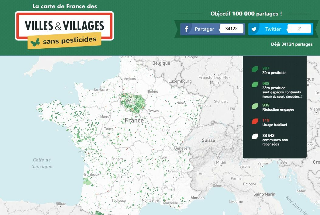 Carte de France interactive des communes sans pesticides