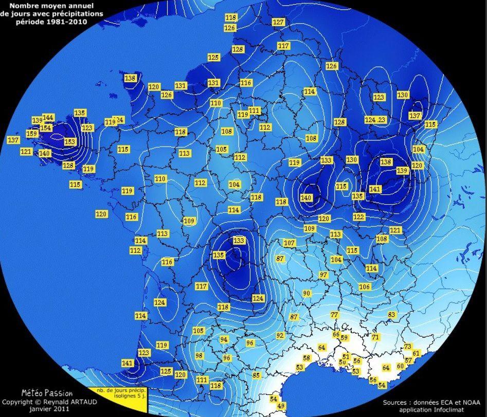 Carte de France de la fréquence des pluies