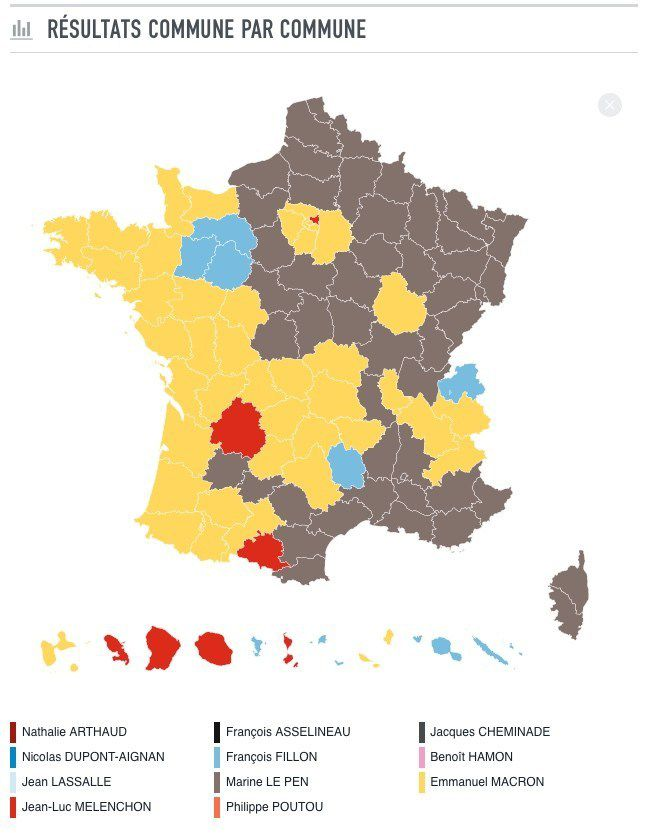 carte de france election presidentielle