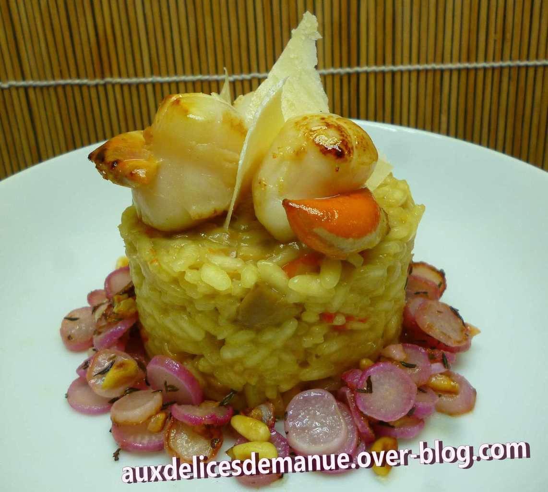 risotto aux petits légumes et noix de Saint-Jacques