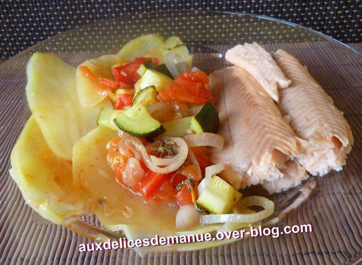 Truite saumon e pommes de terre et l gumes au four light auxdelicesdemanue - Legumes faciles a cuisiner ...