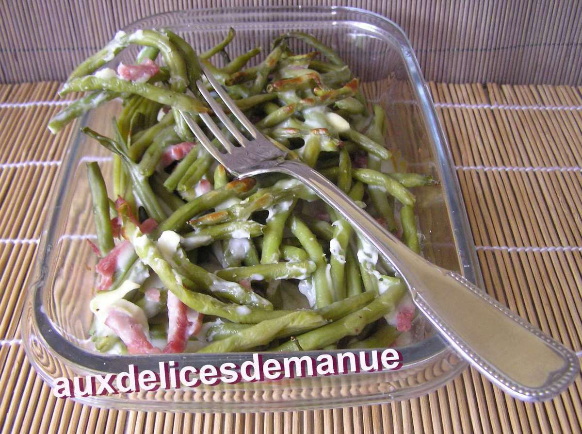 haricots verts et bacon la b chamel au ch vre light auxdelicesdemanue. Black Bedroom Furniture Sets. Home Design Ideas