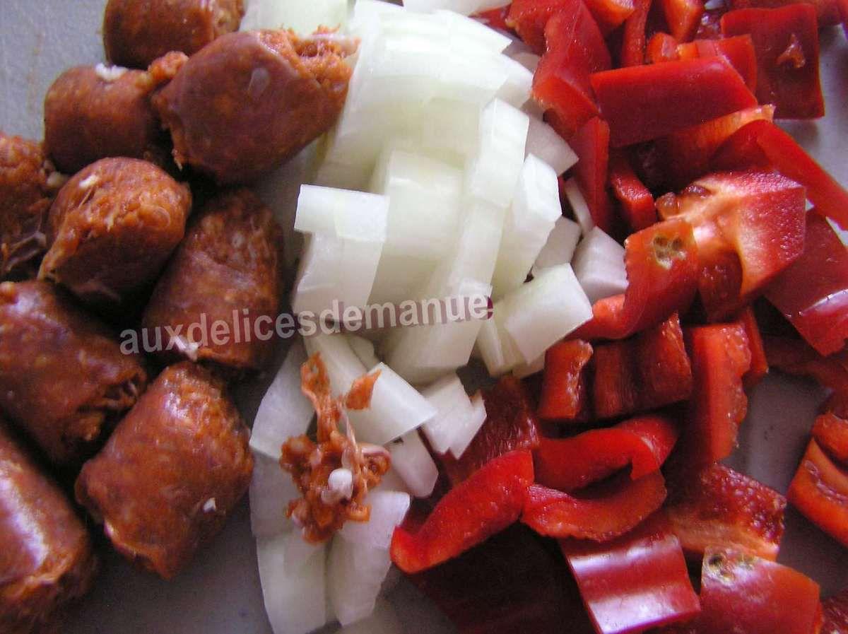 poêlée de pommes de terre, poivron et merguez