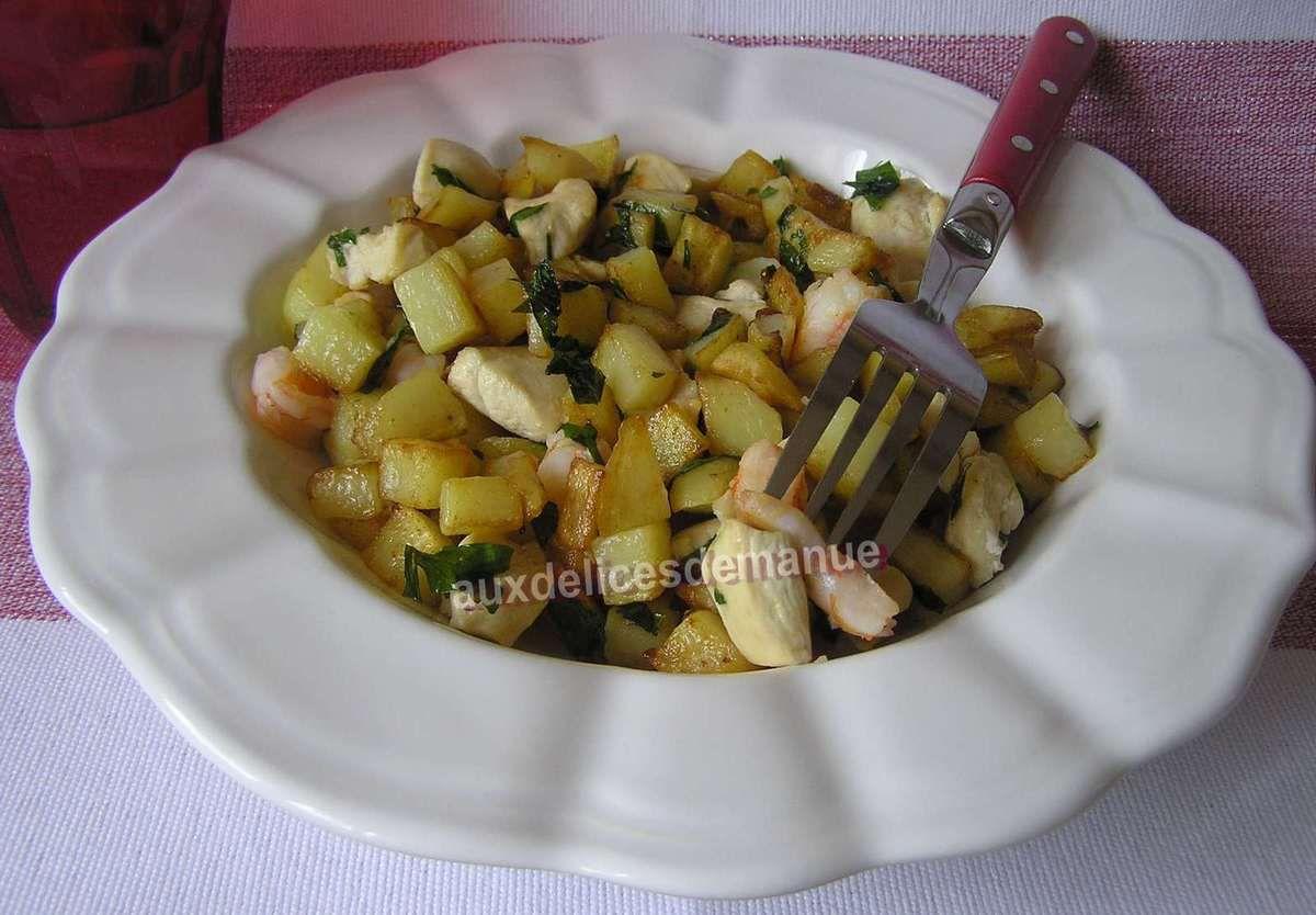 Poulet crevettes et pommes de terre saut es au beurre aill auxdelicesdemanue - Pomme de terre au beurre ...
