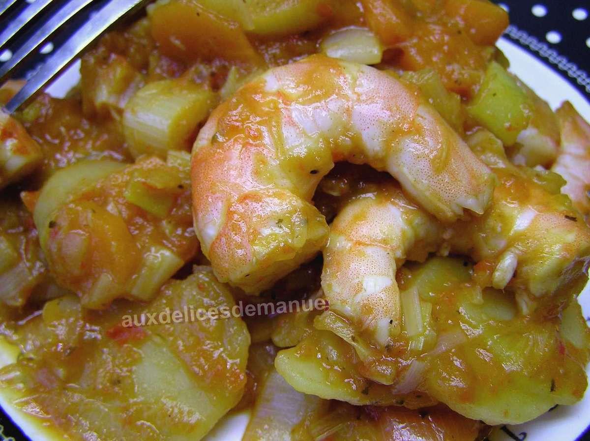 poireaux, pomme de terre et carottes aux crevettes sauce légumes épicée -LIGHT-