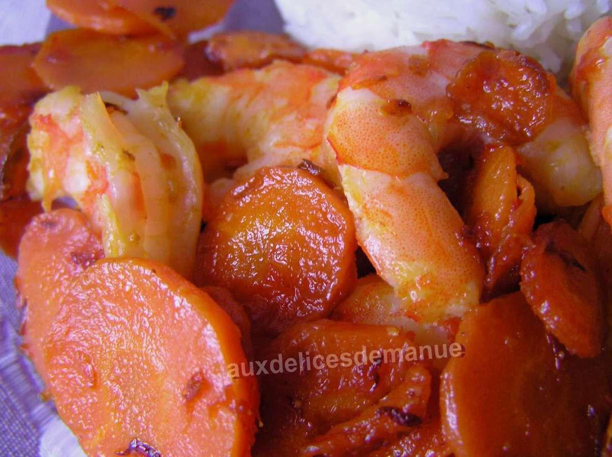 poêlée de carottes au pamplemousse et crevettes