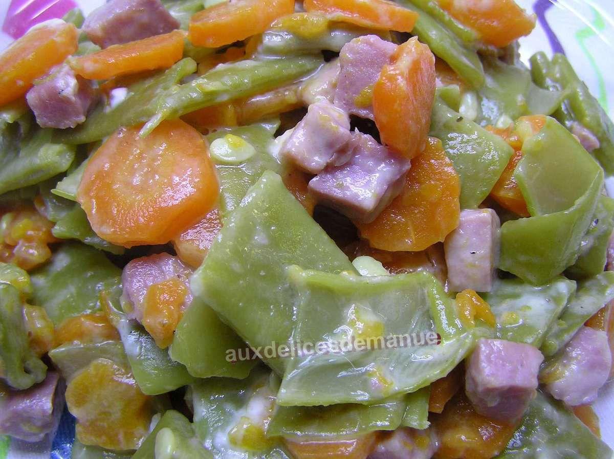 poêlée d'haricots plats et carottes aux dés de jambon -LIGHT-
