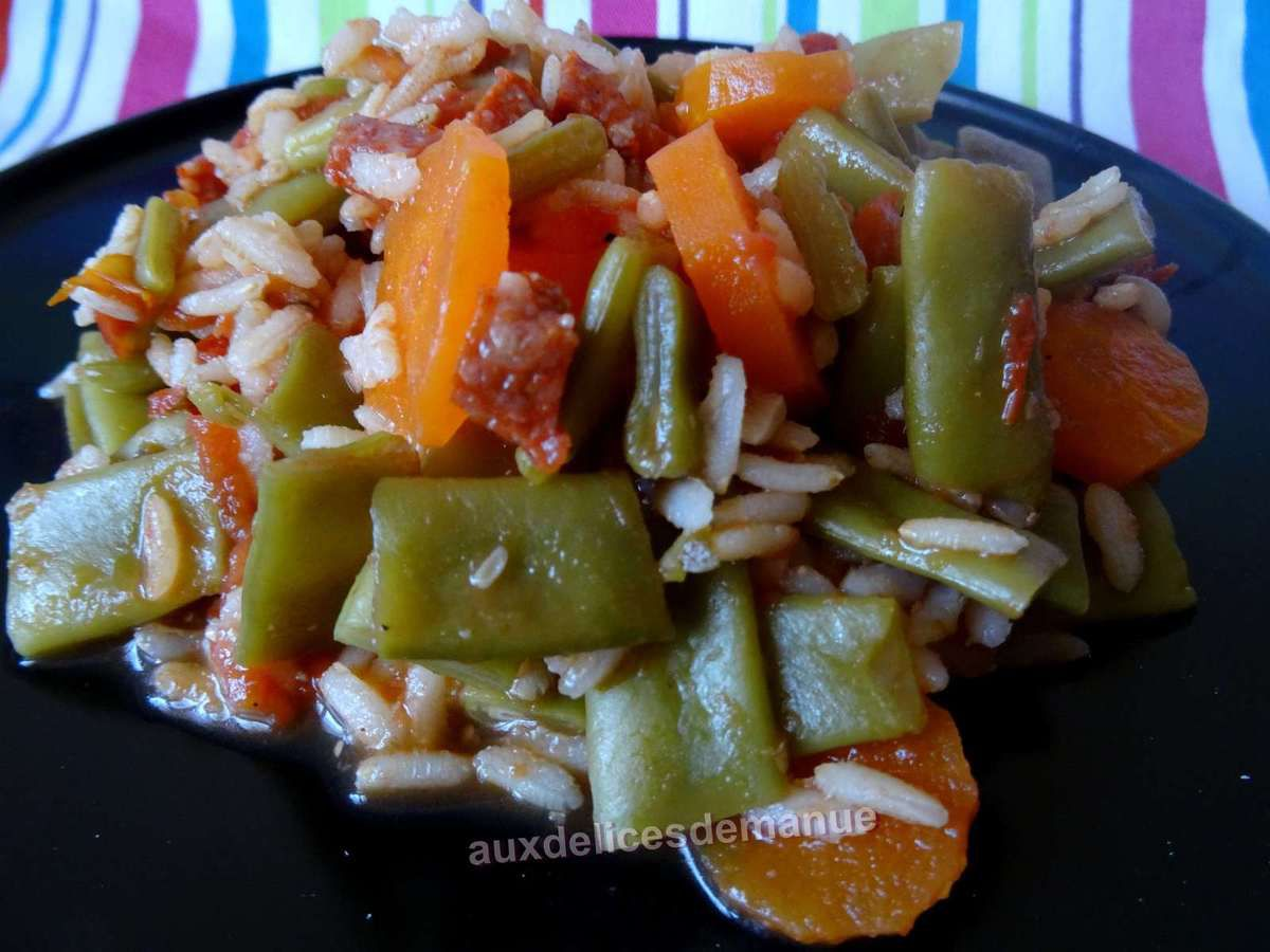 haricots plats et carottes au riz et chorizo light auxdelicesdemanue. Black Bedroom Furniture Sets. Home Design Ideas