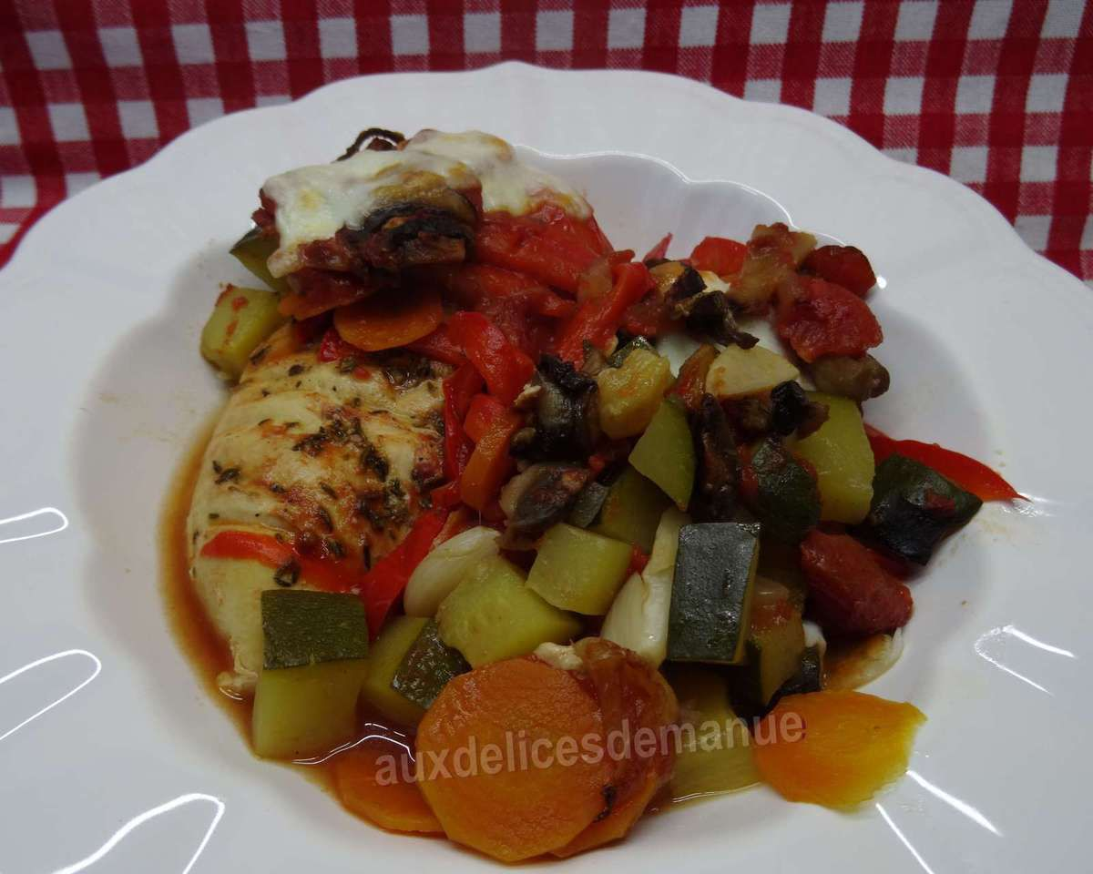 Filets de poulet et l gumes la mozzarella au four light - Cuisiner des filets de poulet ...