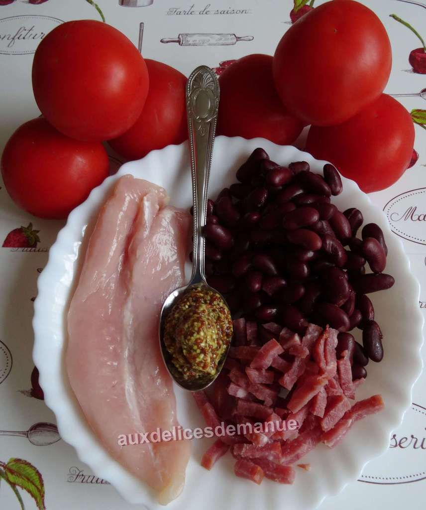 tomates farcies au poulet, bacon et haricots rouges-light-