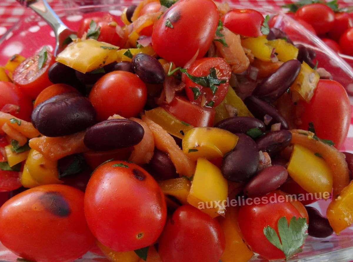 Salade tiède de haricots rouges aux tomates, poivron et truite fumée -LIGHT-