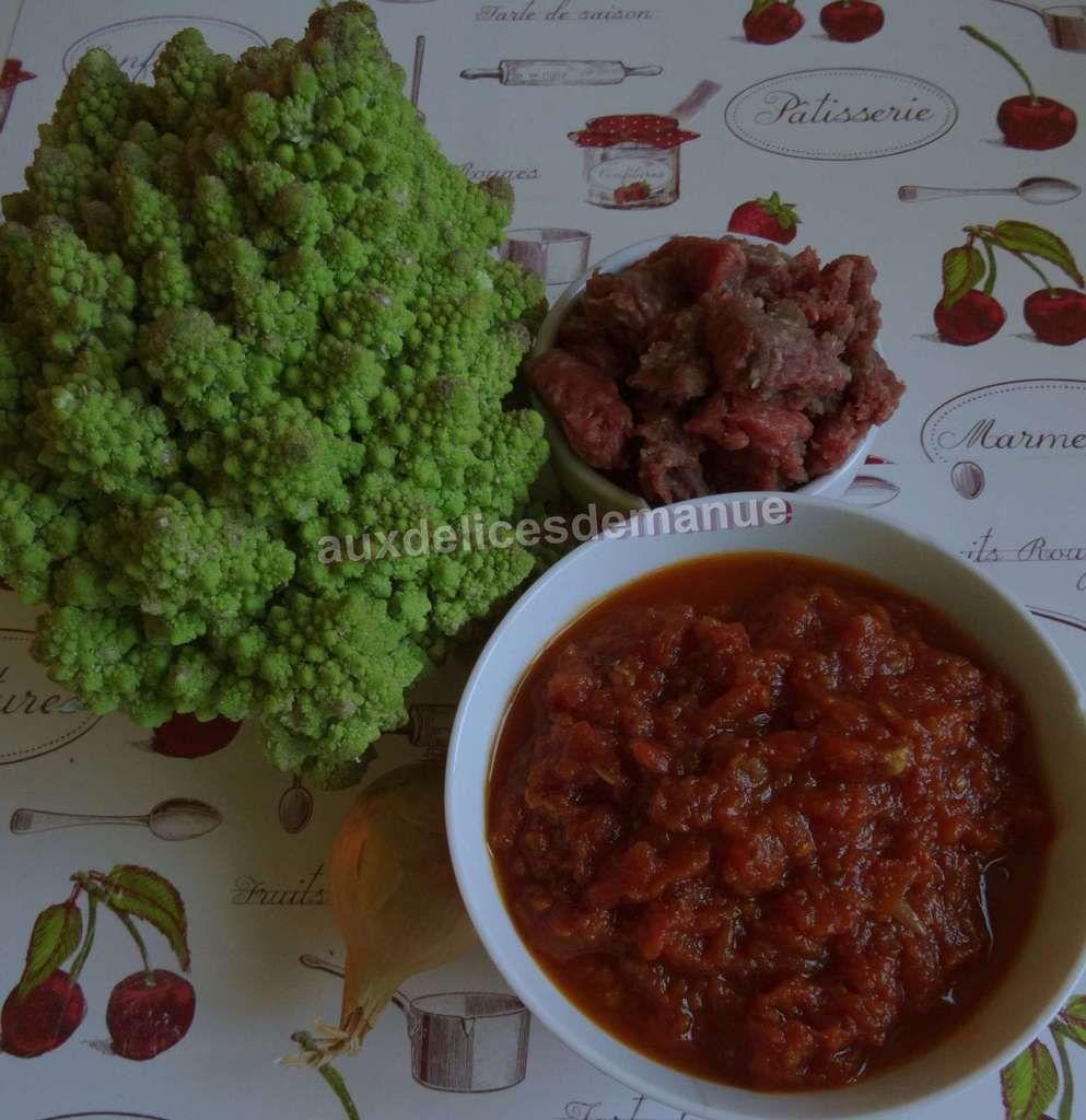 Chou romanesco au coulis de tomates et bœuf haché au Cookéo ou pas -LIGHT-
