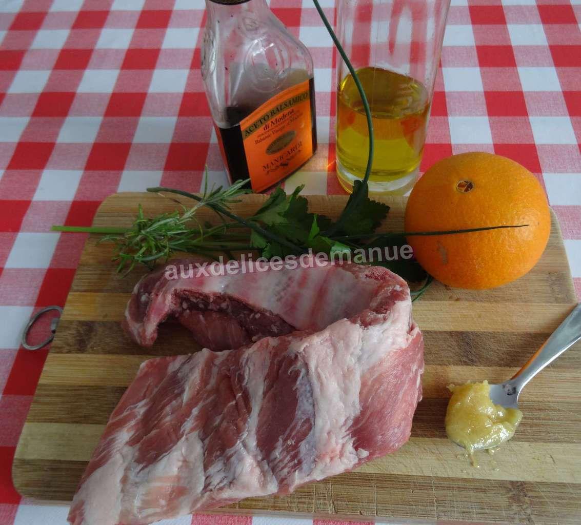 Ribs de porc marinés aux herbes et jus d'orange