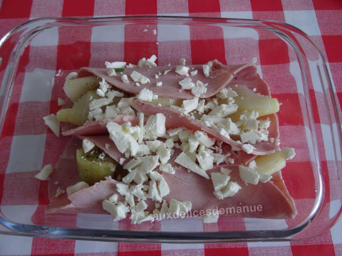 Poireaux au jambon à la crème ciboulette et ail -LIGHT-