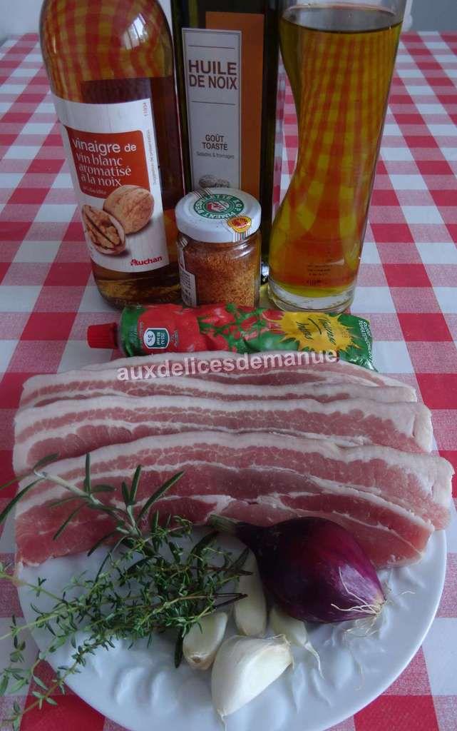 Tranches de poitrine de porc marinées noix et concentré de tomate à la plancha
