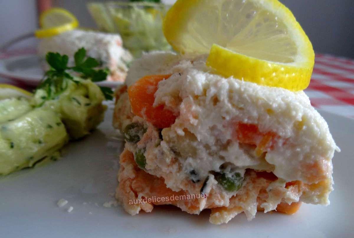 Terrine au saumon, cabillaud, noix de saint-jacques, petits légumes et sa mayonnaise citron et persil