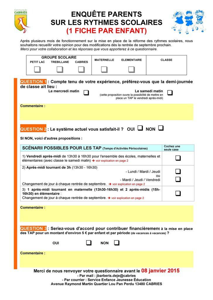 rythme scolaire questionnaire aux parents