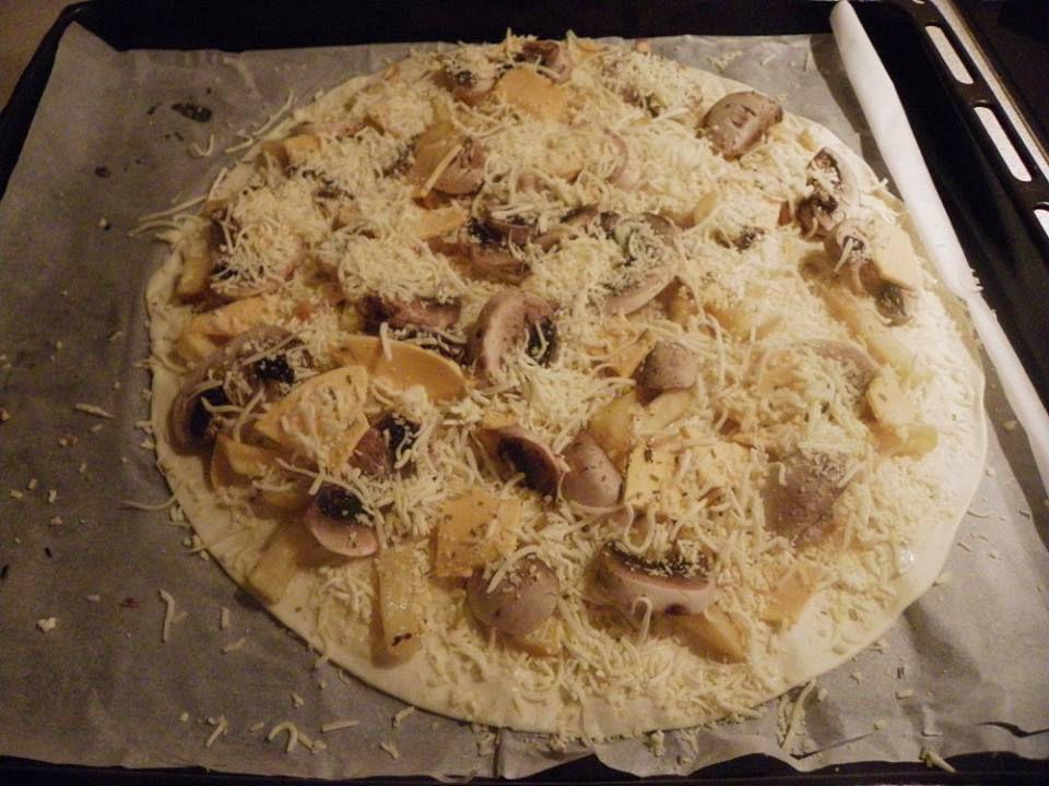 pizzas crème cantal roquefort,frite,champignons et gouda