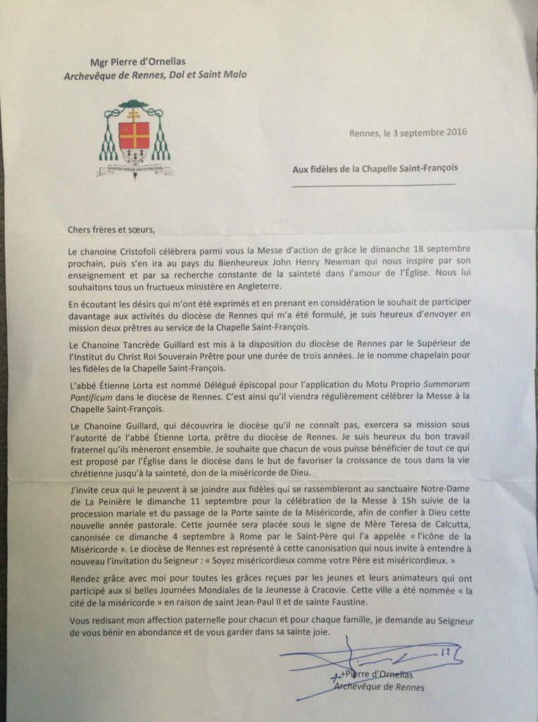 Lettre de SER Monseigneur l'archevêque à saint François