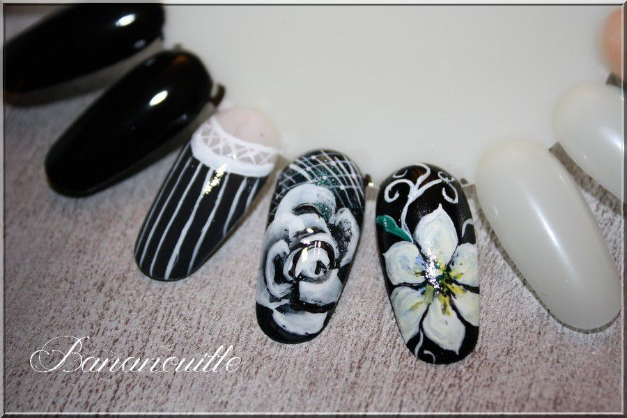 Nail Art &quot&#x3B;rose one stroke &amp&#x3B; fleur toute simple&quot&#x3B;.