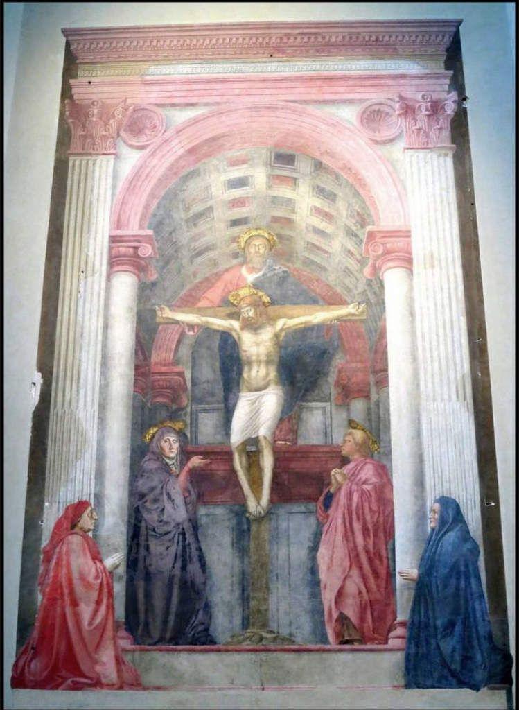 Andrea di Bonaiuto, la Chiesa Militante et Trionfante (1365-1367) ; Masaccio, la Trinité (1424-25)