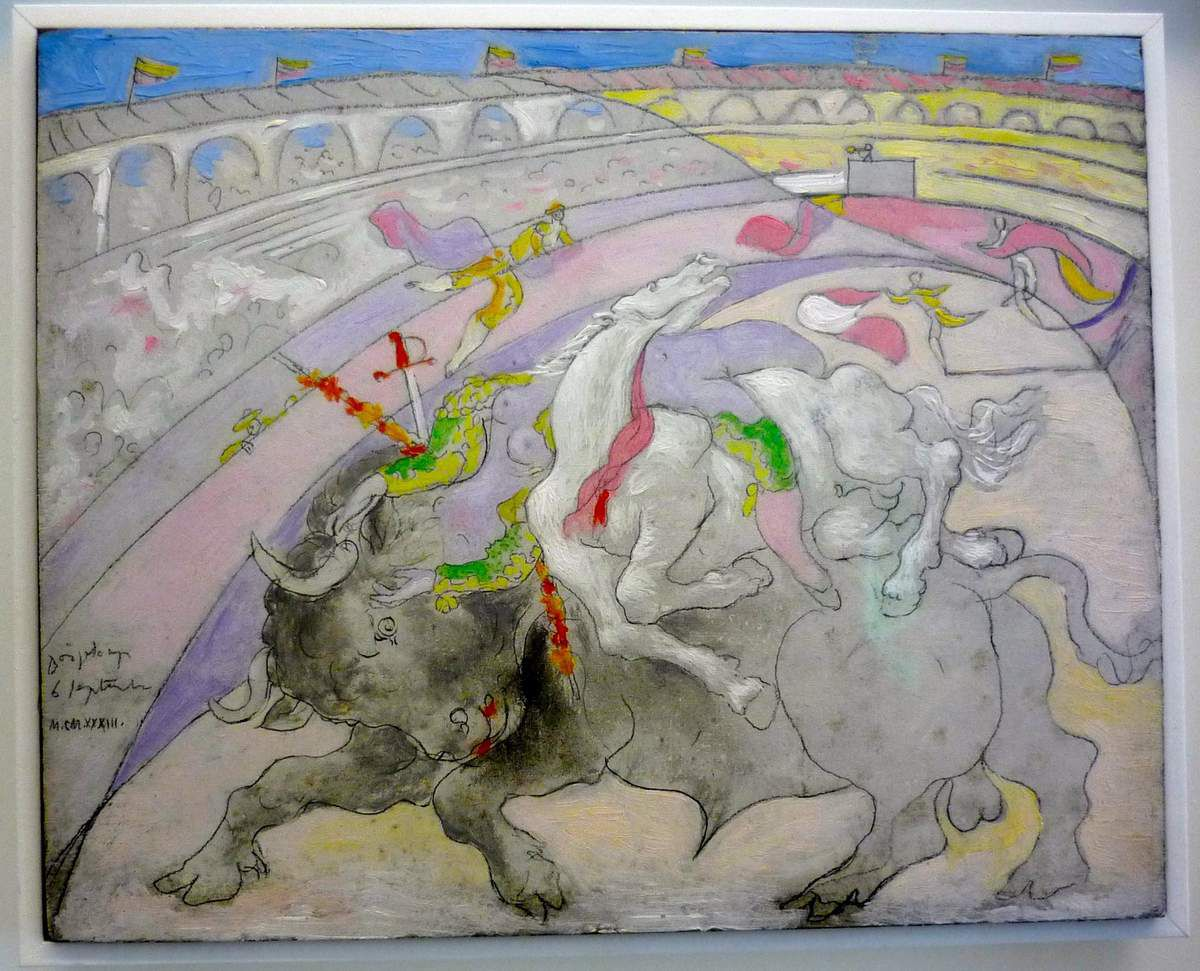 Pablo Picasso, Corrida (1923)  ;   Corrida :  la mort de la femme torero (1933)  ;   la Minotauromachie (1935)  ;   Petite fille sautant à la corde (1950)
